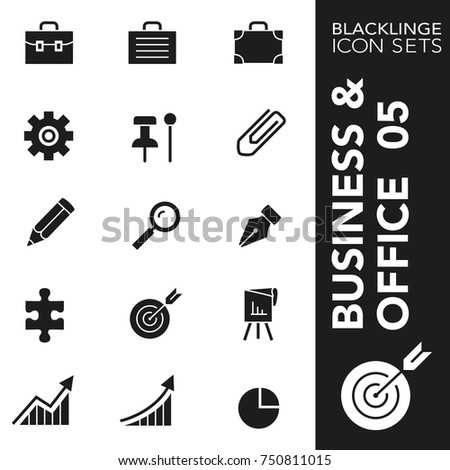 High quality black and white icons of business, office, secretarial. Blacklinge are the best pictogram pack unique design for all dimensions and devices.Vector graphic, logo symbol and website content