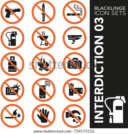 High quality black and white icons of prohibited symbol and no sign. Blacklinge are the best pictogram pack unique design for all dimensions and devices.Vector graphic, logo symbol and website content