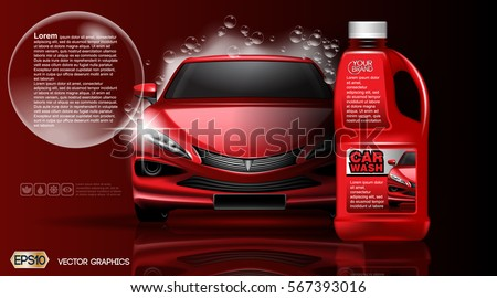 High quality Car wash Product package mock up ads. Bottle of carwash soap. 3d Vector realistic vehicle template.