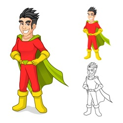 High Quality Cool Super Hero Cartoon Character with Cape and Standing Pose Include Flat Design and Outlined Version Vector Illustration