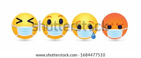 high quality 3d vector round Face with Medical Mask cartoon bubble emoticons sad angry laugh social media chat comment reactions, icon template emoji character Whatsapp Facebook Instagram message