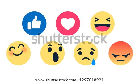 high quality 3d vector round yellow cartoon bubble emoticons for social media chat comment reactions, icon template face tear, smile, sad, love, like, Lol, laughter emoji character message