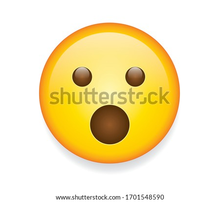 High quality emoticon isolated on white background. Emoji face with Open Mouth and open eyes. Yellow face wow emoji.Social media surprised, shocked emoticon.Popular chat elements. Trending emoticon.