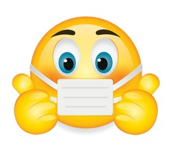 High quality emoticon on white background.Corona emoji.Face With Medical Mask  and thumbs up emoji vector illustration.Mask emoji.Medical mask emoticon.