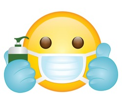 High quality emoticon on white background.Emoji with hand gloves ,sanitizer and mask vector. Face With Medical Mask and gloves and bottle emoji.Mask emoji. Medical Mask emoticon.Thumbs up emoji.