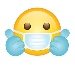 High quality emoticon on white background. emoji with open eyes, hand gloves and mask. Face With Medical Mask and blue gloves emoji vector illustration. Popular chat elements.Medical mask emoticon.