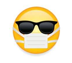 High quality emoticon on white background. Emoji with sunglass and mask. Yellow sick emoji wearing sunglasses and medical mask to protect from virus vector. Mask emoticon. Sunglasses emoji.