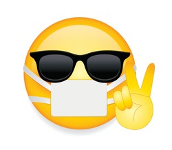 High quality emoticon on white background.Face With Medical Mask.Sunglasses emoji vector illustration.Mask emoji.Mask emoticon.Peace sign emoticon.Medical mask emoticon.