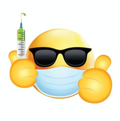High quality emoticon on white background. Sunglass Emoji with Vaccine syringe. Face With Medical Mask and covid vaccine emoji. Mask emoji. Medical Mask emoticon. Sunglasses Emoji.