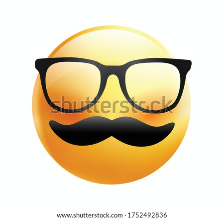 High quality emoticon on white background. Yellow face with mustaches and glasses.Father's day emoji.Mustache emoji vector.Hipster emoji.Mustache smiley.