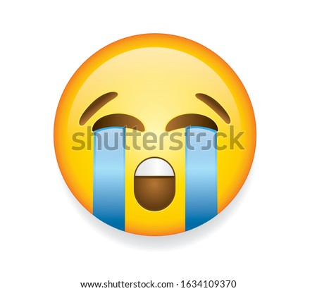 High quality emoticon vector illustration on white background. Emoji crying with tears and closed eyes.yellow face crying emoji.Popular chat elements.Cry emoji.Crying emoticon.