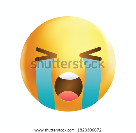 High quality emoticon vector illustration on white background. Emoji crying with tears and closed eyes. Yellow face crying emoji. Popular chat elements. Cry emoji. Crying emoticon.