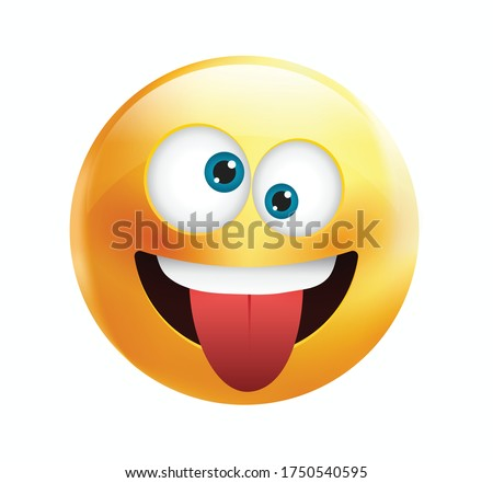High quality emoticon vector on yellow gradient background. Happy emoji with eyes.Yellow face with crazy eyes.Tongue emoji.Popular chat elements.Silly emoticon. Foto stock ©
