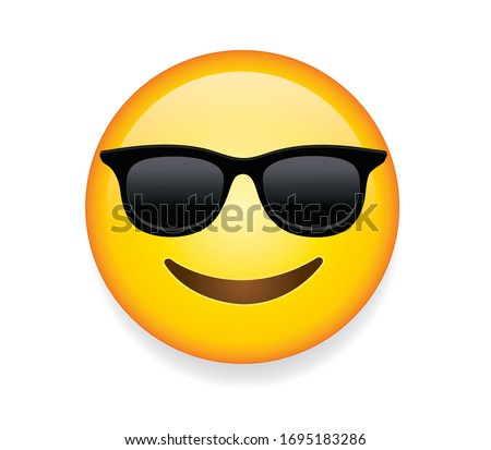 High quality emoticon with sunglasses. Emoji vector. Cool smiling Face with Sunglasses vector illustration. Yellow face with broad smile wearing black sunglasses. Sunglasses emoji. Сток-фото ©
