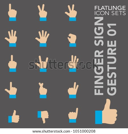 High quality flat colorful icons of finger sign and hand gesture. Flatlinge are the best pictogram pack unique design for all dimensions and devices. Vector graphic, logo symbol and website