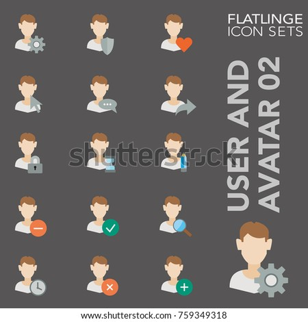 High quality flat colorful icons of user, head and people face. Flatlinge are the best color pictogram pack unique design for all dimensions and devices. Vector graphic logo symbol and website content