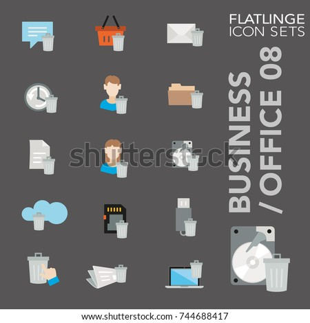 High quality flat colorful icons of user interface, erase data. Flatlinge are the best colored pictograms, unique design for all dimensions and devices. Vector graphic logo symbol and display content