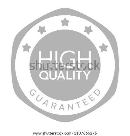High quality guaranteed word and five star on hexagon badge vector. Minimalist style, white and gray color.