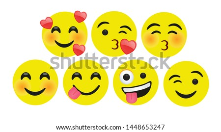 high quality icon flat vector round yellow cartoon bubble emoticons social media Whatsapp Instagram Facebook Twitter chat comment reactions icon template face love, laughter emoji character message