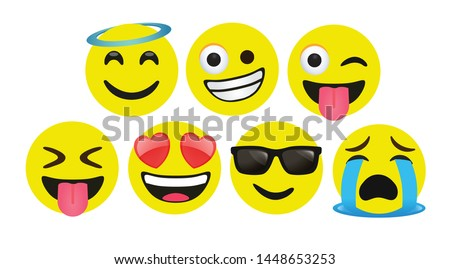 high quality icon flat vector round yellow cartoon bubble emoticons social media Whatsapp Instagram Facebook  Twitter chat comment reactions icon template face tear, laughter emoji character message