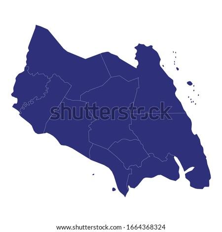 High Quality map of Johor Darul Ta'zim is a state of Malaysia, with borders of the districts Zdjęcia stock ©