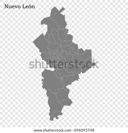 Shutterstock High Quality map of Nuevo León is a state of Mexico, with borders of the municipalities