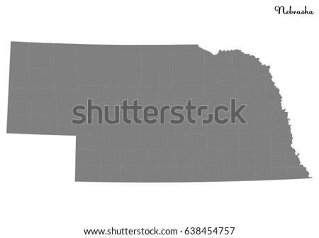 High Quality map of U.S. state of Nebraska with borders of the counties