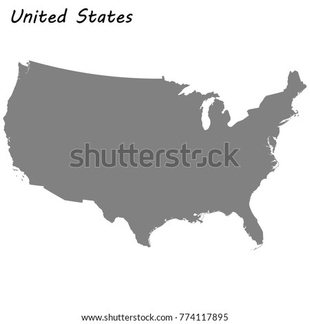 High quality map of United States.