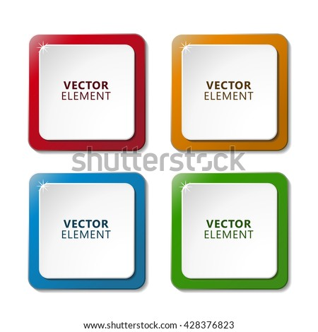 High Quality Modern Square Color Labels on White Background. Vector Isolated Illustration.