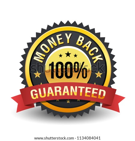 High quality 100% money back guarantee with red ribbon on white background.