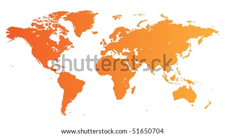 High quality orange vector map of the World.