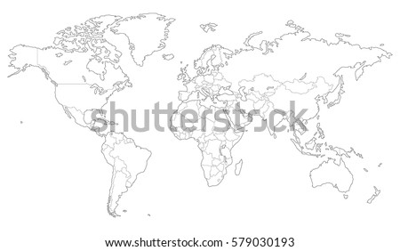 high quality outlined vector map of the world with only straight lines