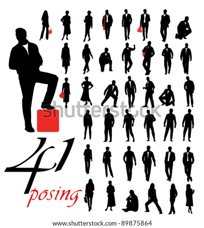 High quality posing silhouettes. Vector illustration