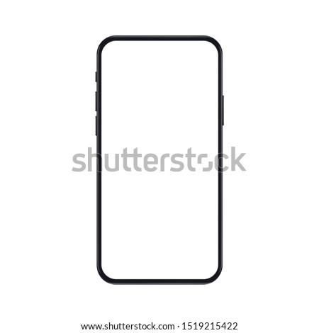 High quality realistic new version of smartphone with blank white screen. Realistic vector mockup phone for visual ui app demonstration