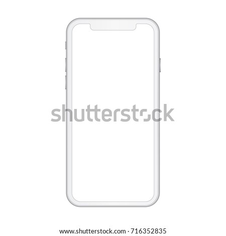 High quality realistic smart phone x concept with empty screen. White detailed mobile phone with camera, volume and power buttons. Vector illustration.