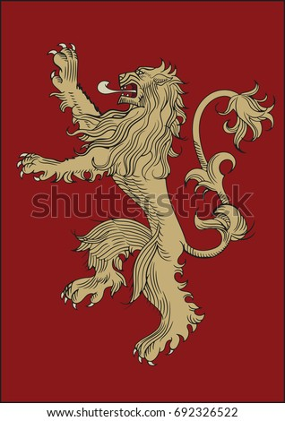 Stock Photo High quality redraw of a Lannister Heraldic Sign. A song of Ice and Fire Great House Heraldry. Game of Thrones heraldic vector sign. Great Houses of Westeros. Vector Heraldry. CMYK. A4 size.