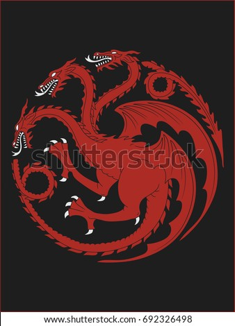Stock Photo High quality redraw of a Targaryen Heraldic Sign. A Song of Ice and Fire Heraldry. Great Houses of Westeros. Vector Heraldry. CMYK. A4 size.