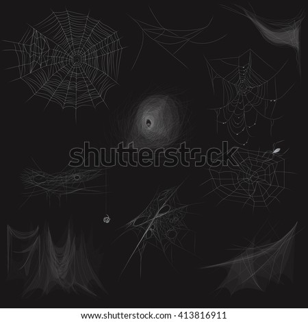 High quality set of Cobweb spider web concept. Vector illustration.