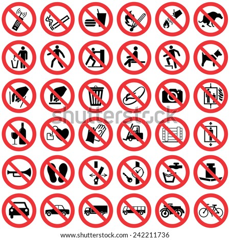 High quality Standard Prohibition sign collection