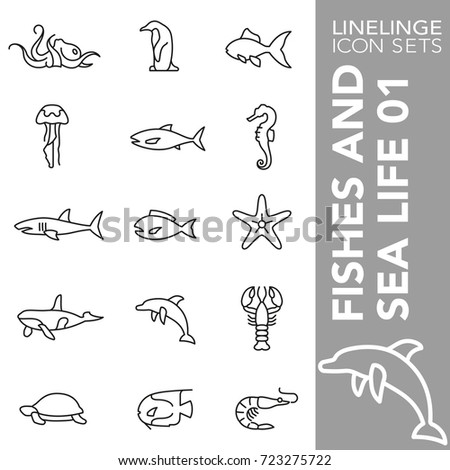High quality thin line icons of fish, seal life and shellfish. Linelinge are the best pictogram pack unique linear design for all dimensions and devices. Stroke vector logo symbol and website content.