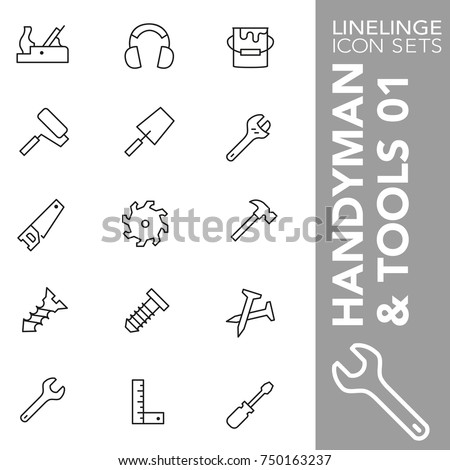 High quality thin line icons of implements and handyman tools. Linelinge are the best pictogram pack unique linear design for all dimensions and devices. Stroke vector logo symbol and website content.