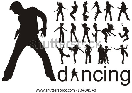 high quality traced dancing people silhouettes vector illustration