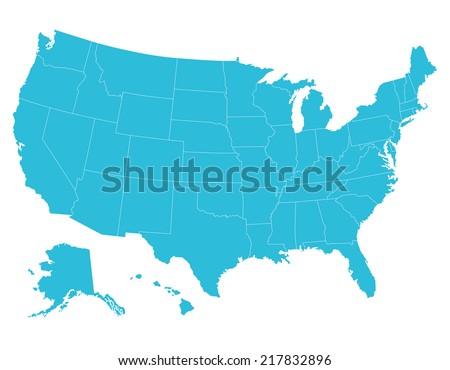 High quality United States map of America. Each city and border has separately, and can be colored as desired.