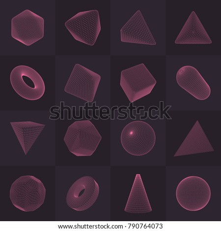 High-quality vector collection of low-poly renders of platonic solid, polygonal shapes basic figures. Three-dimensional illustration set of abstract transparent objects. Isolated on color background.