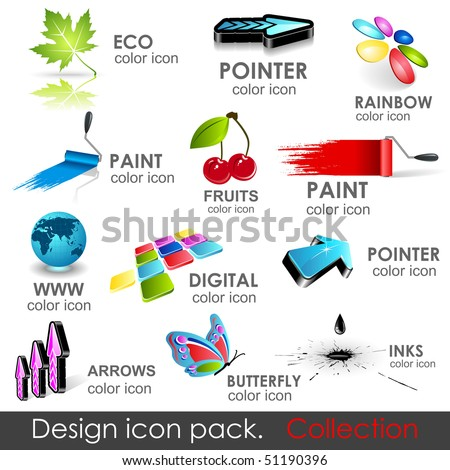High quality vector 3d icons. Collection.