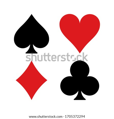 High quality vector illustration of the four Poker playing cards suits symbols - Spades Hearts Diamonds and Clubs icons isolated on white background