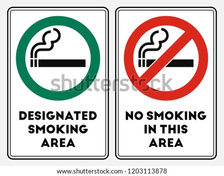 High quality vector illustration of the No smoking red sign and the Smoking area green sign
