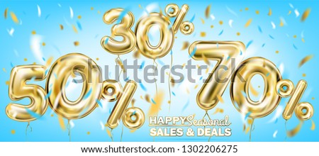 High quality vector image of gold balloon seventy fifty thirty percent. Design for seasonal sales, discounts and any events, sky blue background