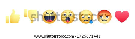 High quality vector round yellow cartoon bubble emoticons social media Facebook chat comment reactions, icons template face tear, smile, sad, love, like, Lol, laughter emoji character message