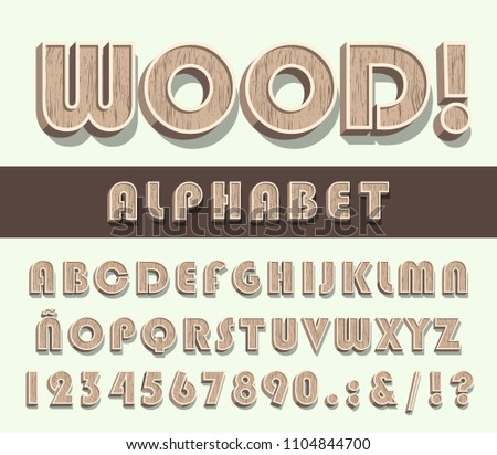 High Quality Vintage Wooden Alphabet and Numbers on Color Background . Isolated Vector Elements